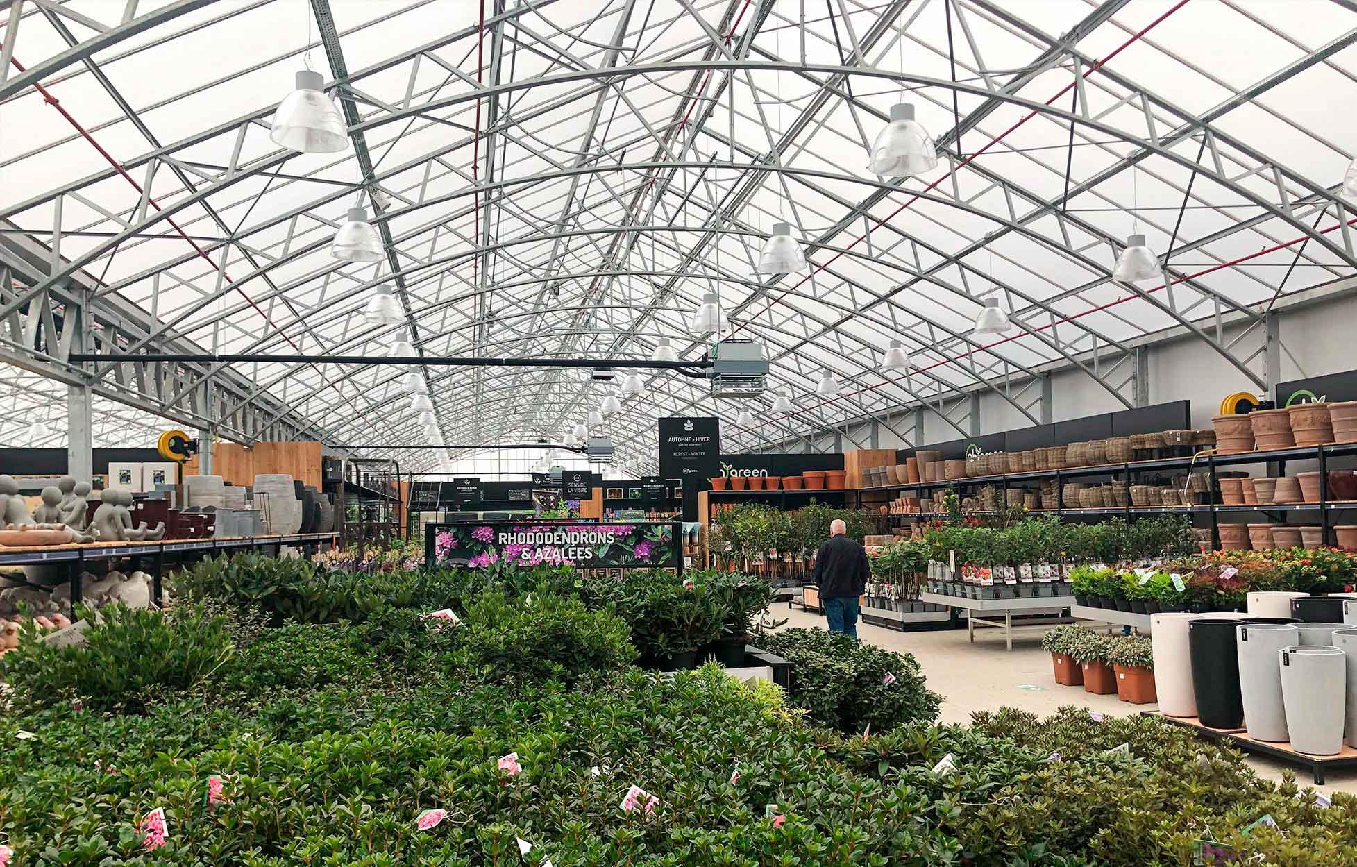 Verlichting voor tuincentrum Oh' Green in Hognoul.